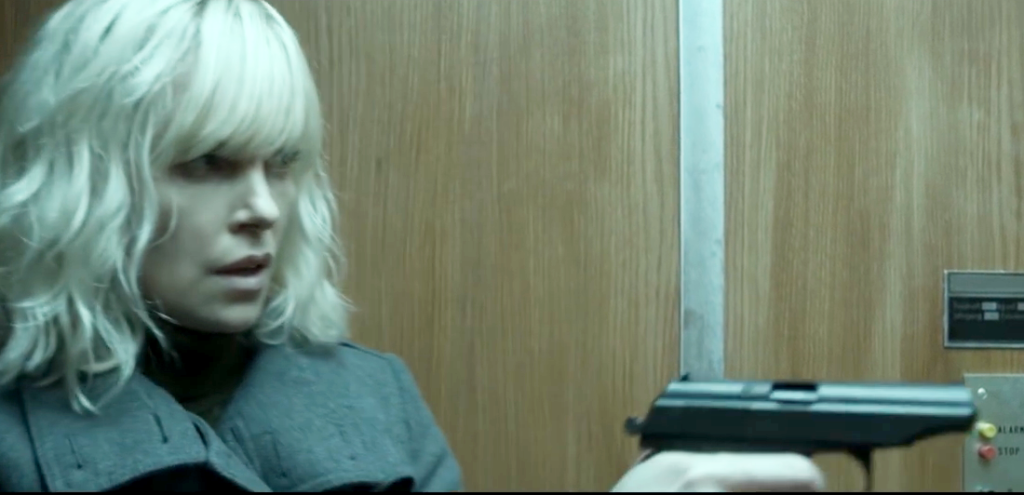 Lorraine with her Makarov in the elevator scene.