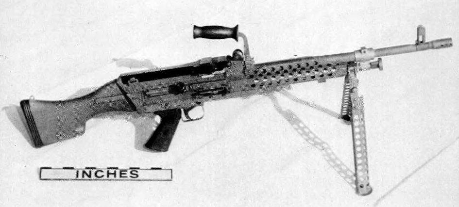 The Belgian-designed Minimi prototype as delivered to the U.S. Infantry Board for evaluation.