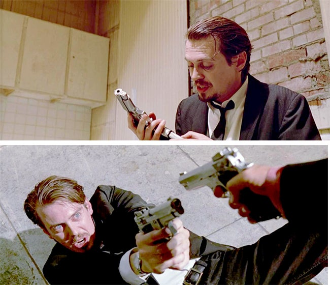 Mr. Pink (Steve Buscemi) loading and aiming his S&W 659.
