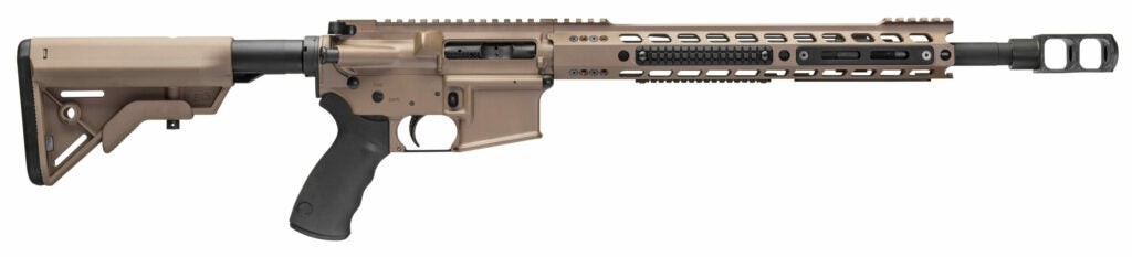An Alexander Arms AR-15 rifle chambered in .50 Beowulf with a