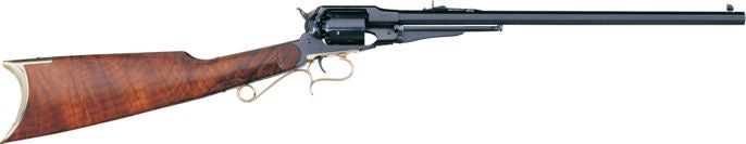 The modern reproduction of the Remington 1858 New Army Cattleman's Carbine is made by Uberti.