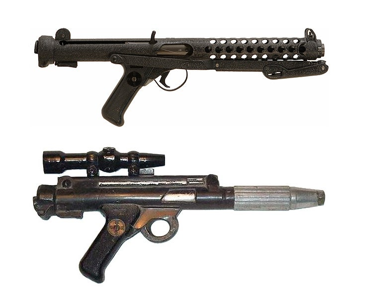 Just as in the original trilogy, the Rebels use the BlasTech DH-17, which, like the Stormtrooper's E-11 blasters, is based on the Sterling L2A1 submachine gun.