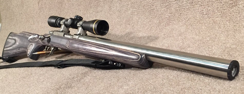 An SWS MISB Ruger 77-44 integrally suppressed rifle.