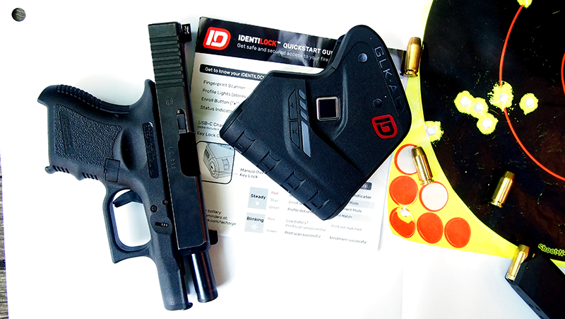 The Identilock uses a fingerprint scanner to unlock the unit, which mounts on a handgun's trigger guard.
