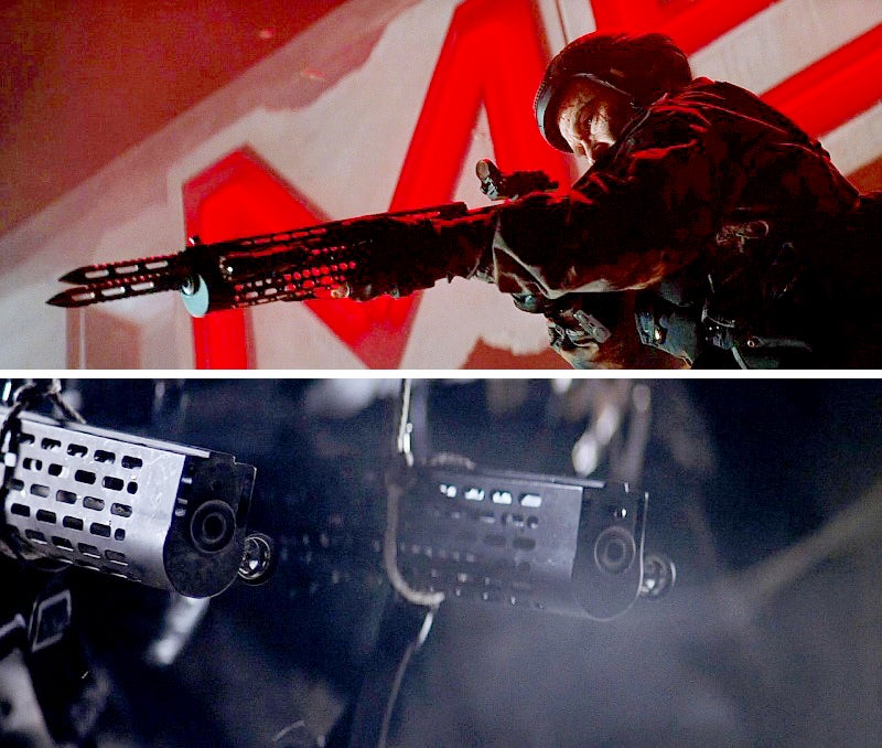 A shot from the flashback sequence of Todd with the assault rifle, and another shot of two of the rifles being fired akimbo.