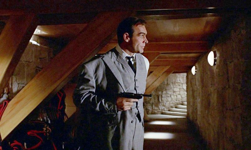 Bond carries a Walther P38 that materializes, possibly from a hidden arsenal in his car.