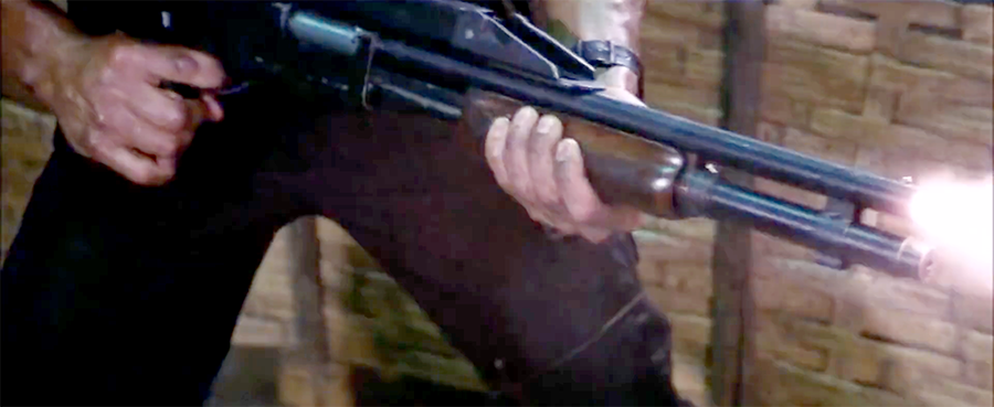 We can see Rambo clearly slam fires the shotgun, which would have been possible with older model 870s that didn't include a trigger disconnect.
