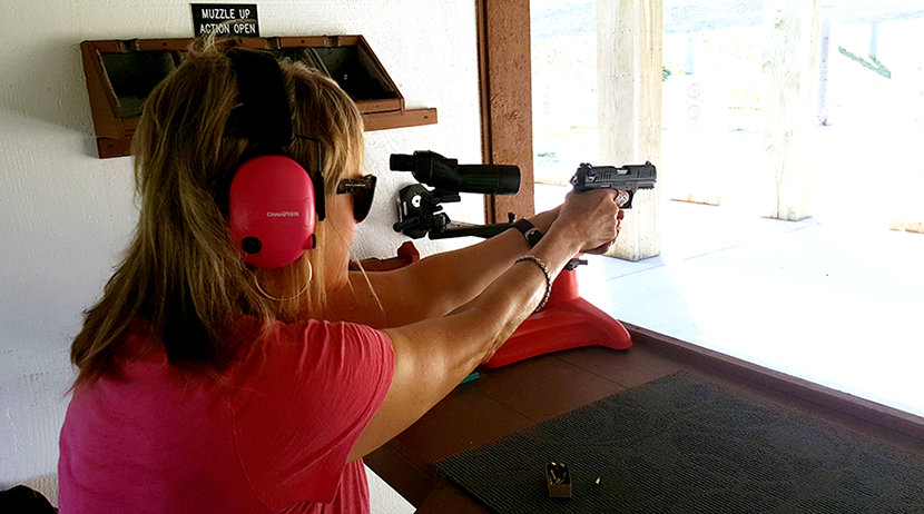 This new shooter (Pam) is trying out a few guns prior to purchasing one for herself.