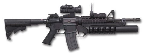 An M4A2 with an M203 40mm grenade launcher attached.