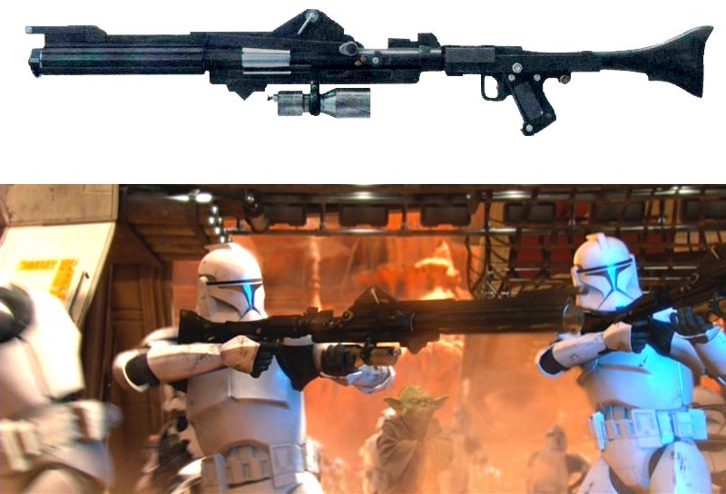 Though the BlasTech DC-15A Blaster Rifle was completely CGI, it was based on parts from two real guns.