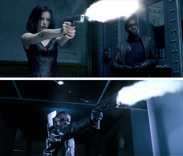 Selene (Kate Beckinsale) on top firing her H&K USP Match pistol loaded with UV rounds. Below, Blade (Wesley Snipes) prefers a MAC-11 machine pistols with compensators and silver-nitrate rounds.
