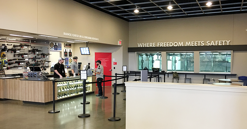 A lot of indoor ranges will have a gun shop of some size on the premises, so shooters can purchase or rent firearms, as well as buy ammunition and targets.