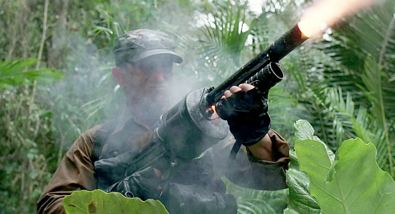 Poncho (Richard Chaves) fires his custom-built 37mm grenade launcher.