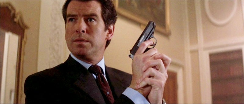 Brosnan begins his second Bond film again carrying a Walther PPK.