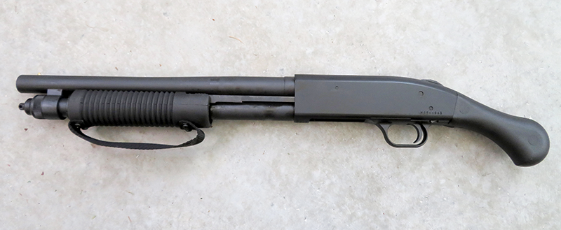 The Mossberg Shockwave is built on the company's M590 receiver with a 14-inch barrel and an overall length of 26.37 inches.