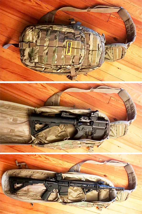 The rifle, folded and stored in a [RUSH MOAB 10](http://www.511tactical.com/rush-moab-10.html) sling bag from 5.11 Tactical