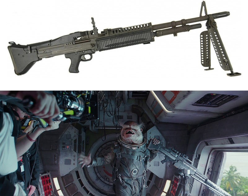 The UT-60D-Mounted Blaster used by a door gunner is obviously based on the M60 machine gun, and the whole scene could be seen as a nod to *Full Metal Jacket*.