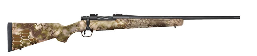 This Mossberg Patriot rifle features a modern synthetic Kryptek Highlander Camo stock.