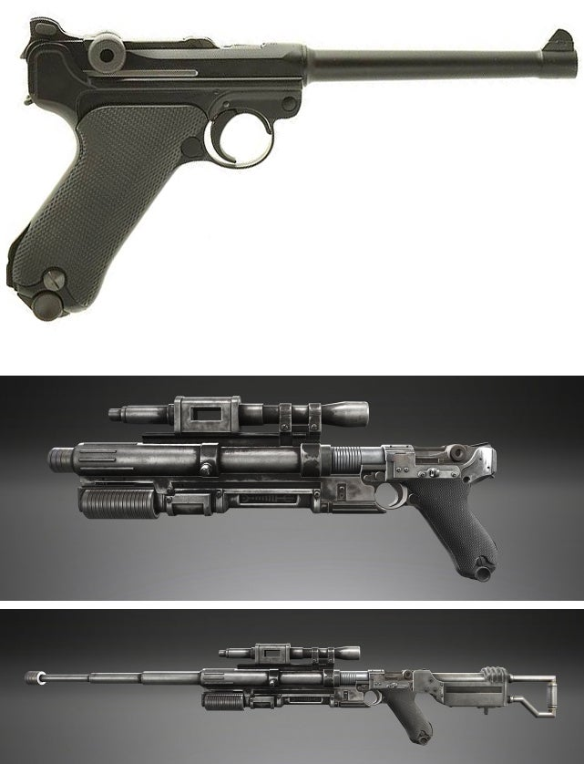 Underneath Jyn Erso's A180 Pistol is a Luger P08. According to supplemental material, the pistol can be converted to a carbine and a sniper rifle.