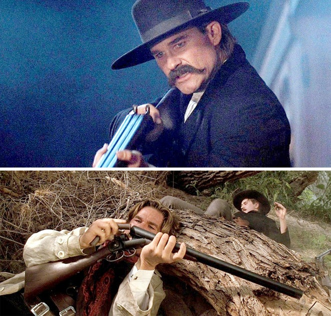 From the beginning of his vendetta ride, Wyatt carries a three-triggered Stevens 10-gauge double-barreled, side-by-side shotgun.
