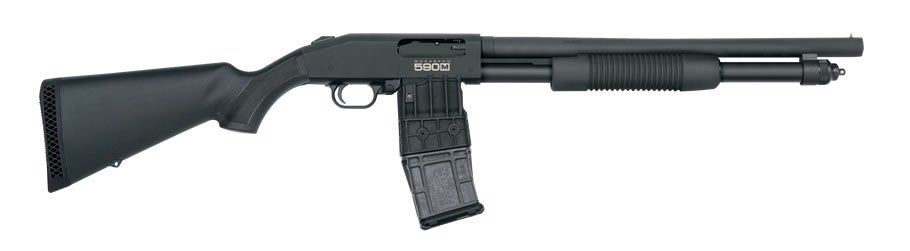 The Mossberg 590M with a 10-round magazine in place.