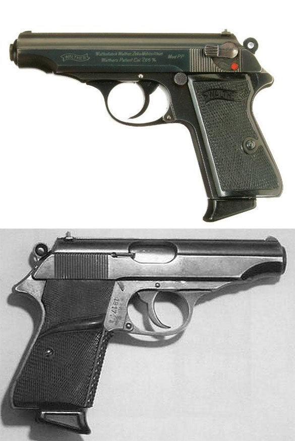 A Walther PP above and the screen-used Walther PP pistol from *Dr. No*.