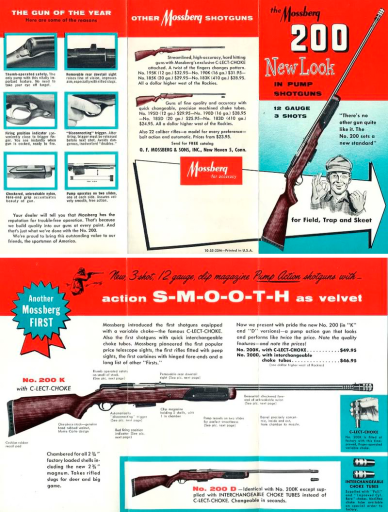 A pair of ads for one of Mossberg's earlier shotguns, the Model 200