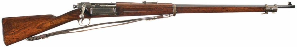 A Springfield 1892 bolt-action rifle