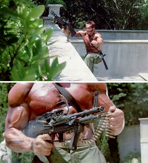 Arnold also handles the M60E3 like a toy and fires it one handed in a number of scenes. The ammo belt is clearly loaded with crimped blanks and the blank adapter can be seen in the barrel.