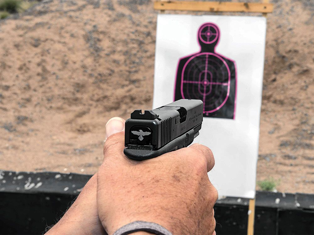 Modified Glock for point shooting drills