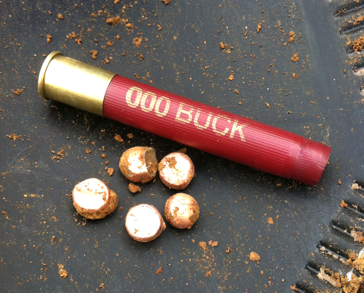 The author's choice for home defense in .410 after range testing: the Federal Personal Defense 3-inch load, which has five 000 Buck copper-plated pellets.