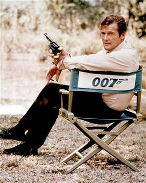 Roger Moore in a promotional photo for the film with an S&W Model 10 revolver.