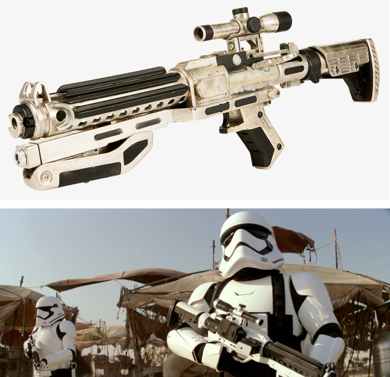 Some F-11D blasters have a buttstock based on the ATI Strikeforce stock.