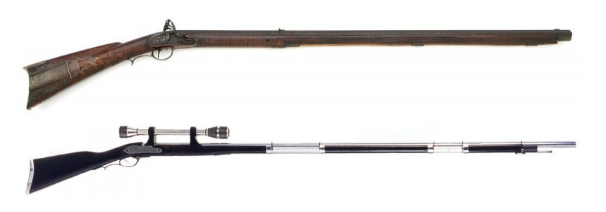 This Unidentified Projectile Rifle is a Kentucky Rifle with the wood furniture replaced.