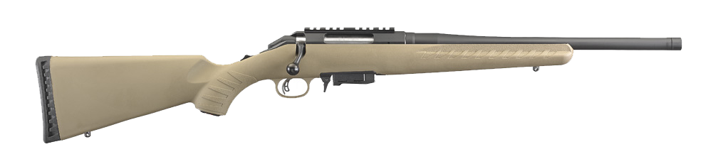 The new rifle comes with a flat dark earth synthetic stock and a threaded barrel. It comes with 5-round magazine, but 10- and 20-round mags are available from Ruger.