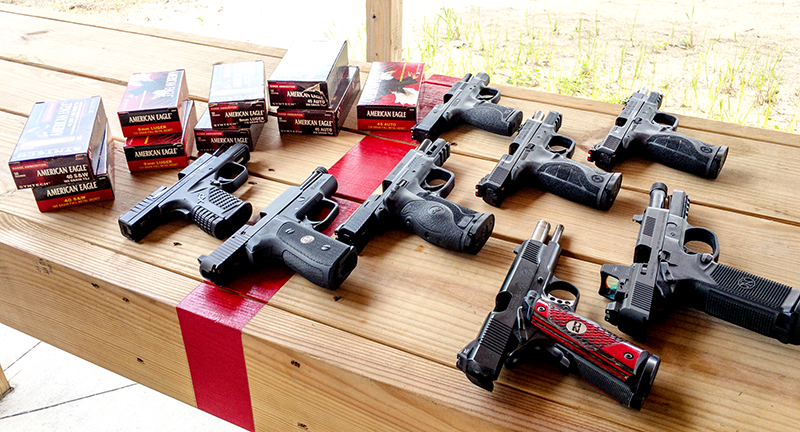 Wherever you shoot, it's always a good idea to leave guns pointed down range with the actions open. That allows other shooters and the range officer, if there is one, to see that those guns are empty