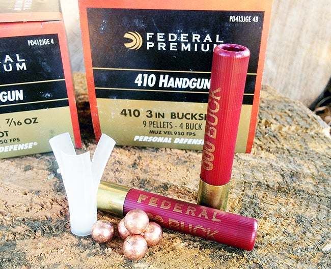 Buckshot is also effective in .410 shells, which can be used in some revolvers like the Taurus Judge and the S&W Governor. In a full-sized shotgun, they have the advantage of producing very little fel