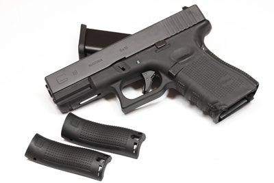An airsoft version of Glock 19 Gen 4 with interchangeable backstraps