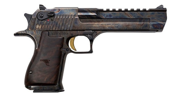 The new Magnum Research Mark XIX Desert Eagle with a case-hardened finish.