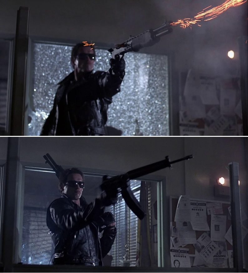 The Terminator with a fully-automatic AR-18 and a full-auto UZI submachine gun during the police station assault.
