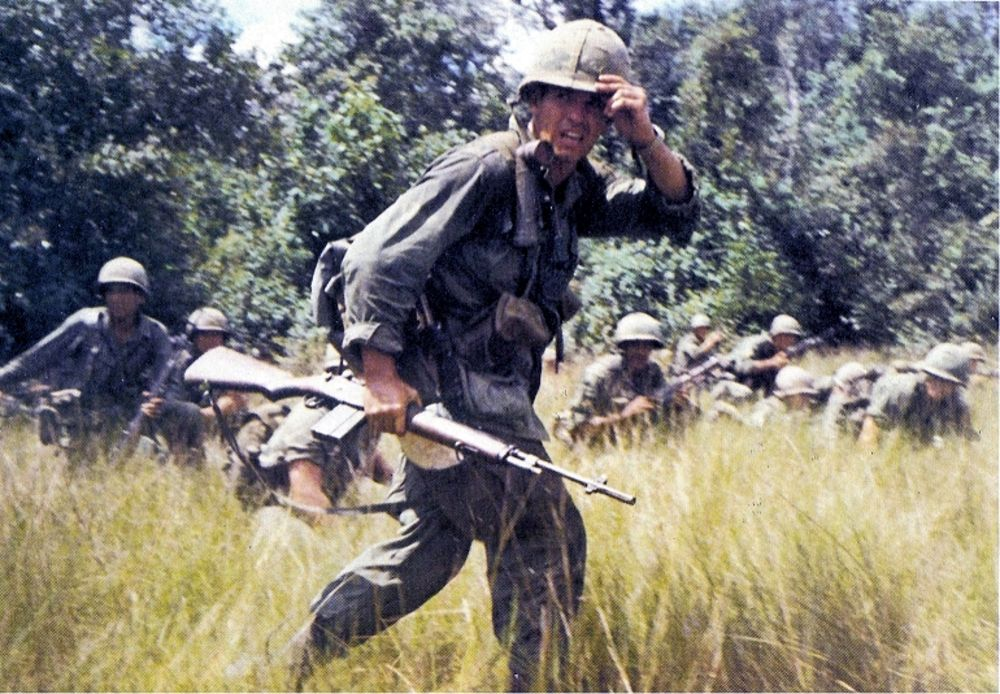 U.S. soldier carrying an M14 in Vietnam