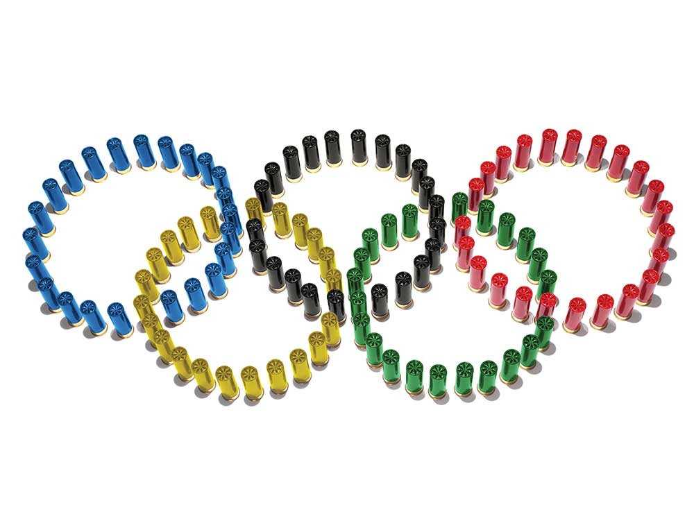 olympic games logo made with shotgun shells