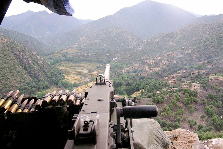 An M2 Browning overlooking the Korengal Valley at Firebase Phoenix, Afghanistan, in 2007.