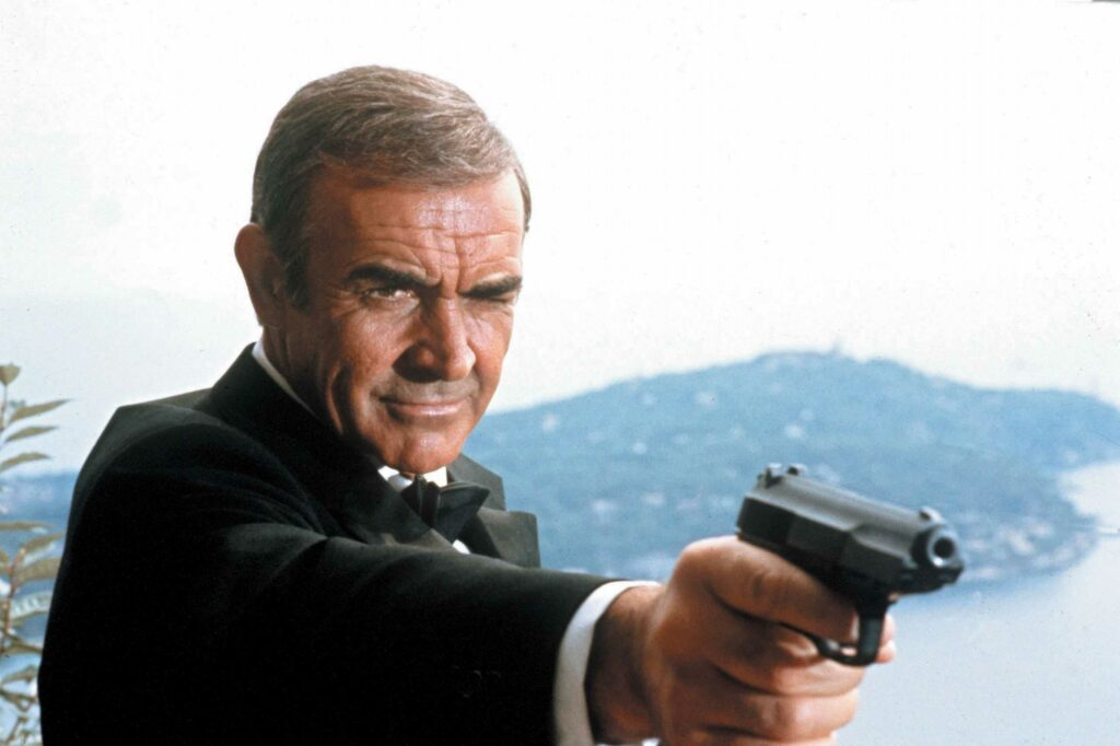 Another shot of Bond aiming the Walther P5.