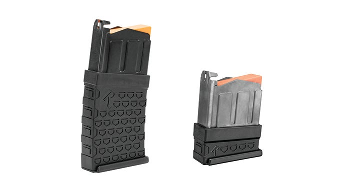 The new 870 DM magazines are made by Remington. The full-sized version holds 6 12-gauge shells and has a polymer body with a steel upper and feed lips and an orange follower. Remington is also making