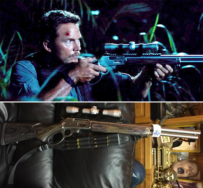 The lever-action rifle used in the movie could be the same used by Christ Pratt in *Jurassic World*.