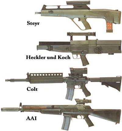 The four ACR rifles to make it to Phase III testing.