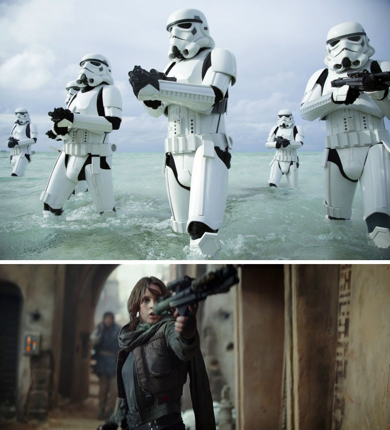The E-11s in *Rogue One* were made from airsoft guns rather than real Sterlings. (Bottom) Jyn Erso (Felicity Jones) uses an E-11 on Jedha.