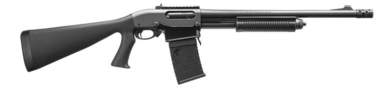 """The 870 DM Tactical is basically the same as the Magpul version, just without the Magpul furniture. It comes with a pistol grip synthetic stock and a tactical """"corn cob"""" forend, an 18.5-inch barrel wi"""