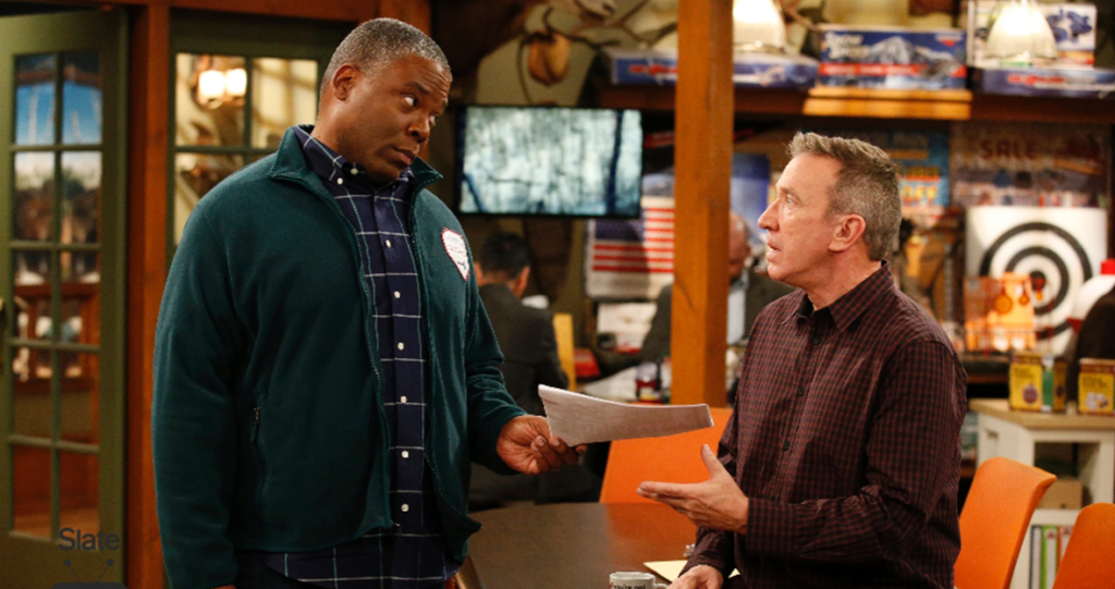 Jonathan Adams as Chuck Larabee and Tim Allen as Mike Baxter on ABC's *Last Man Standing*.